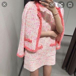 NWT Zara Frayed Trim Dress Tweed Pink 3597/013